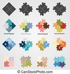 vetorial, SÍMBOLOS, Quebra-cabeça, jogo, Ilustração
