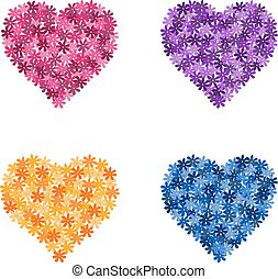 Set of flower hearts, vector illustration