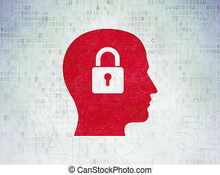 Information concept: Head With Padlock on Digital Data Paper...