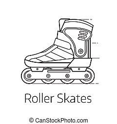 Roller Skates Icon - Modern roller skates vector...