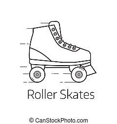 Roller Skates Icon - Retro roller skates vector...
