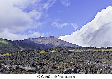 Black Lava of Etna - Congealed Black Lava on the Slopes of...