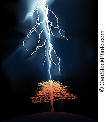 Lightning struck in a lonely tree - Lightning stroke in a...