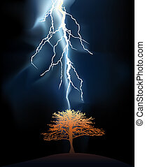 Lightning stroke in a lonely tree against a dark background
