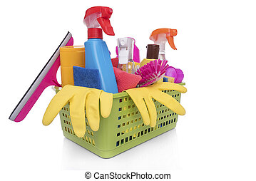 Basket with household cleaning products.