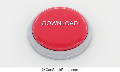 Pushing big red button with download inscription.