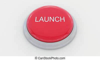 Pushing big red button with launch inscription. Conceptual...