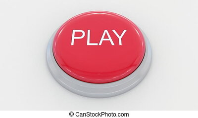Pushing big red button with play inscription.
