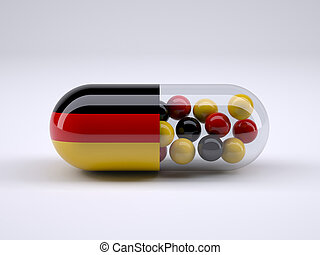 Pill with German flag wrapped around it and red ball inside,...