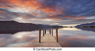 Flooded jetty in Derwent Water, Lake District, England at...