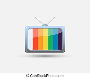 TV icon with colorful stripes on the screen