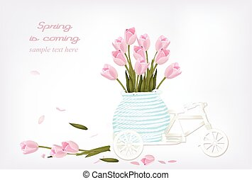 Vintage bicycle toy with Tulip flowers in a basket. Vector illustration Spring is coming text