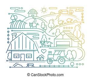Farm - line design composition - color gradient