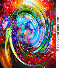 Centripetal circle shapes on abstract colorful cosmic. -...