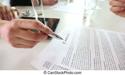Business man sign contract at meeting in office