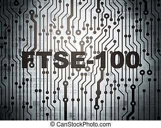 Stock market indexes concept: circuit board with FTSE-100 -...