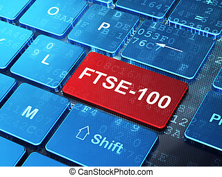 Stock market indexes concept: FTSE-100 on computer keyboard...