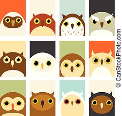 Set of banners with cute owls - Banner, background, flyer,...