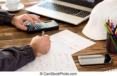 Civil Engineer making Structural Analysis Calculations -...