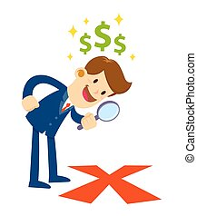 Businessman Looking Through Magnifier For X Mark The Spot