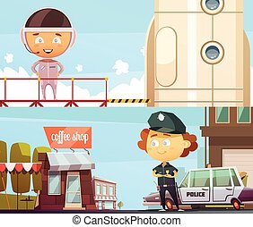 Policeman And Astronaut Professions Banners - People...