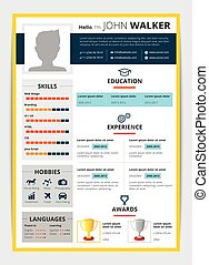 Job Candidate Resume Template - Cv template with male...