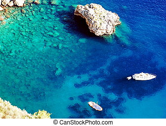 Azure sea at Capri island - Aerial view of Capri island with...
