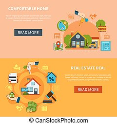 Real Estate Banners Set - Real estate deal and search of...