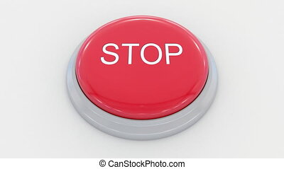 Pushing big red button with stop inscription.