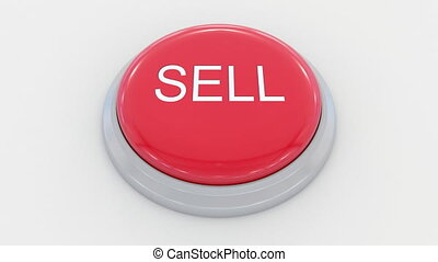 Pushing big red button with sell inscription.