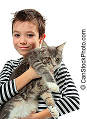 Boy with kitten - Boy with his kitten Maine coon on white...