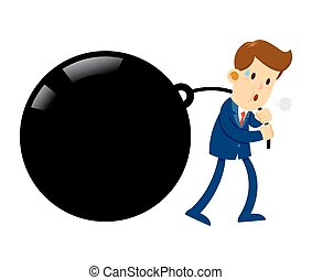 Businessman Pulling Huge Burden - Vector stock of a...