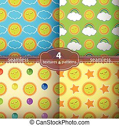 seamless pattern of the sun. Illustrations used for print,...