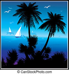 Ocean beach. - Silhouettes of palms on a island background....