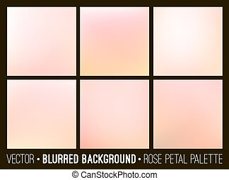 Pink abstract blurred background set. Rose petal palette. Smooth design elements collection wedding concept.