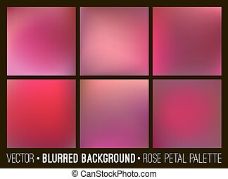 Red abstract blurred background set. Rose petal palette. Smooth design elements collection love concept