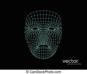 Abstract vector illustration of human face. - Abstract...
