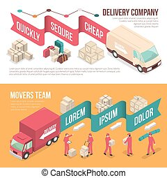 Isometric Delivery Moving Banner Set - Two horizontal...