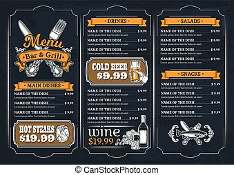 Template for the restaurant menu - Vector illustration...