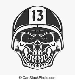 Skull rider in helmet with goggles. vector
