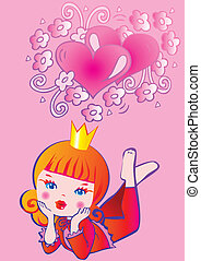 Princess dreams Fairy-tale Vector art-illustration on a pink...