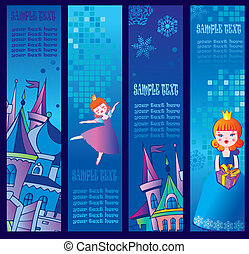 Four winter banners - Set of four vertical winter banners...