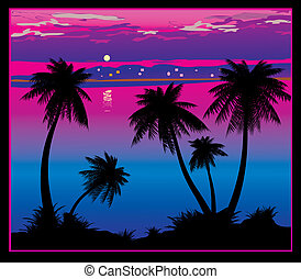Ocean coast - Silhouettes of palms on a ocean background...