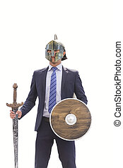 Businessman with Masked Knight Sword and Shield