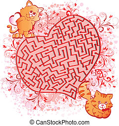 Dreams - Romantic background with cats dreams Vector...