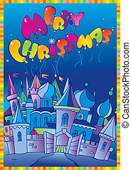 Christmas postcard. - Christmas postcard with winter town....