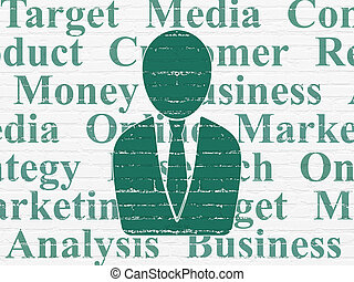 Marketing concept: Business Man on wall background