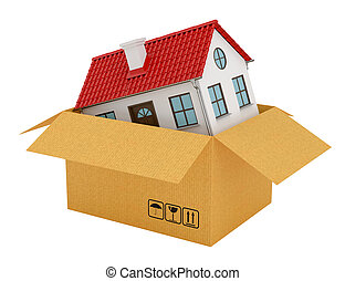 House with red roof in open cardboard box