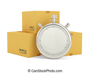 Stopwatch and package on white background
