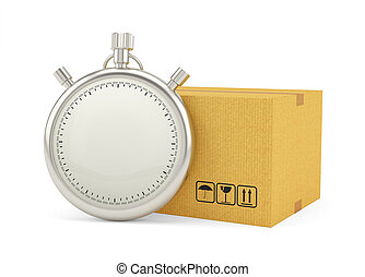 Stopwatch with Cardboard Box on White Background